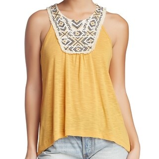 Jolt NEW Marigold Yellow Womens Size Medium M Lace Halter Tank Top