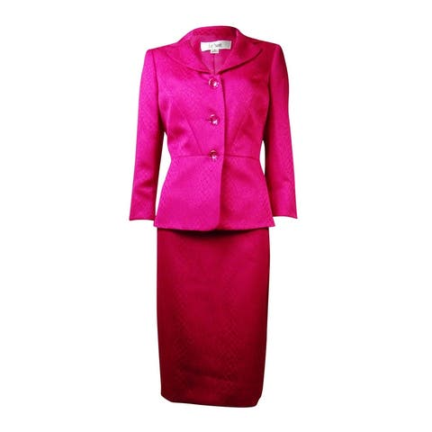 Le Suit Women's English Garden Croco Skirt Suit