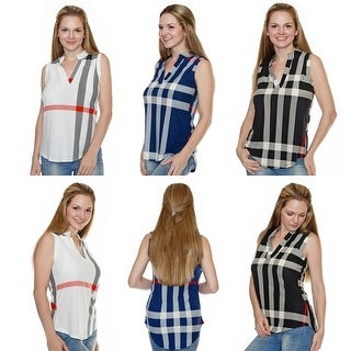 Plaid Sleeveless Top (Sizing up to 3XL)