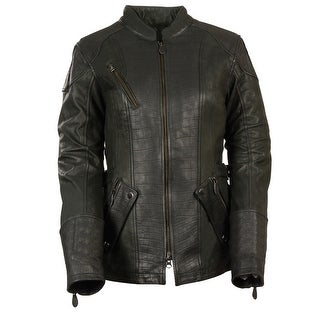 Womens 3/4 Length Alligator Texture Black Leather Jacket