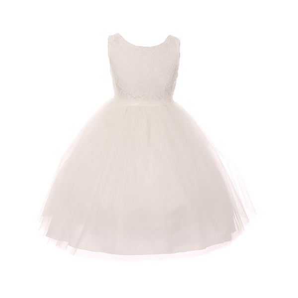 3f4046bb4 Kids Dream Little Girls Off-White Lace Illusion Tulle Flower Girl Dress