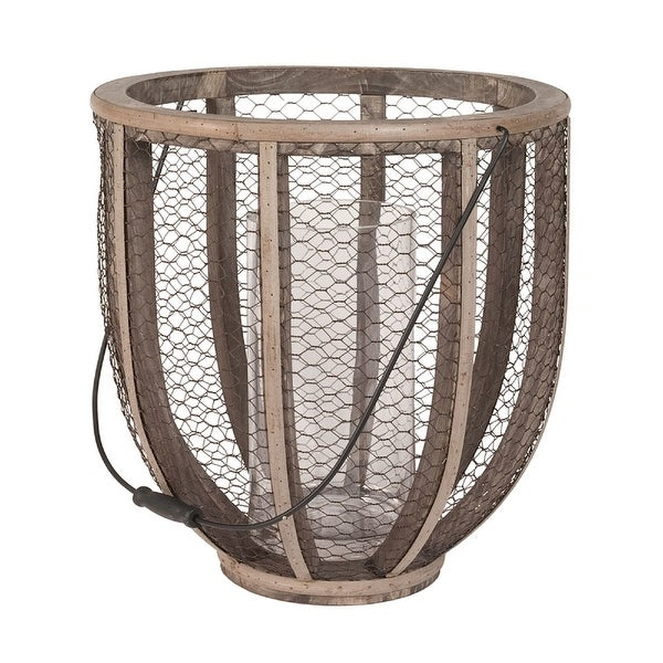 """17"""" Brown Wire Atlas Hurricane Candle Holder - N/A"""