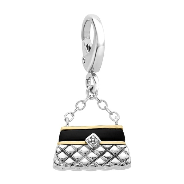 1/2 ct Natural Onyx Handbag Charm in Sterling Silver & 14K Gold