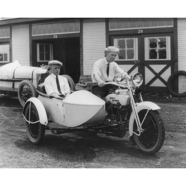 Harley Davidson with Sidecar - Vintage Photo (Cotton/Polyester Chef's Apron)