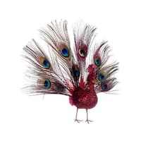 10 in. Regal Peacock Glitter Drenched Vibrant Red Open-Tail Bird