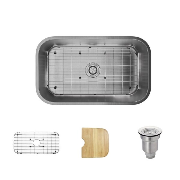 "Rene R1-1021 31-1/2"" Single Basin Stainless Steel Kitchen Sink - Basin Rack, Basket Strainer, and Cutting Board Included"