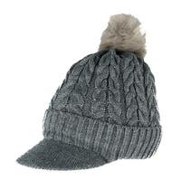CTM® Women's Cable Knit Visor with Sherpa Lining and Faux Fur Pom