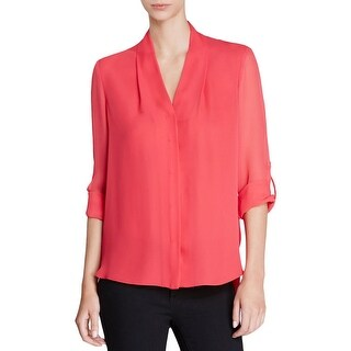 Elie Tahari Womens Ginny Button-Down Top Silk Sheer Sleeves