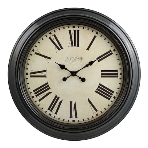 "La Crosse Clock 404-2658 Brown 23"" Antique Dial Analog Wall Clock"