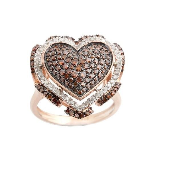 Fabulous Valentine Ring With 0.97 Carat Round Brilliant Cut Cognac Diamond & Diamond