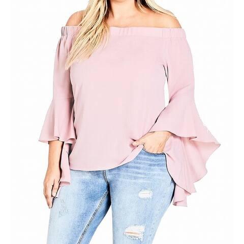 City Chic Women's Blouse Blush Pink Size 22W Plus Off The Shoulder