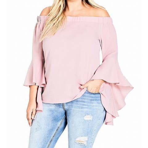 City Chic Womens Blouse Pink 22W XL/22 Plus Off Shoulder Angel Sleeves
