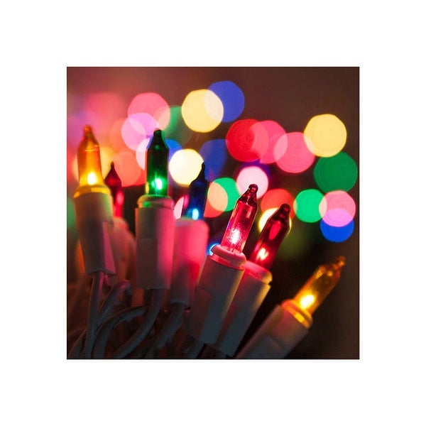 """8.3' Long Indoor Standard 20 Mini Light Holiday Light Strand with 4"""" Spacing and White Wire"""