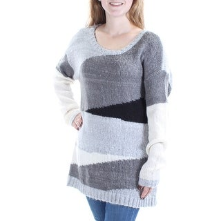 VINCE CAMUTO $99 Womens New 1084 Gray Color Block Long Sleeve Sweater 2XS B+B