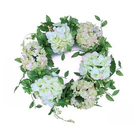 "24"" Decorative Cream and Pink Silk Hydrangea Flower Artificial Spring Floral Wreath"