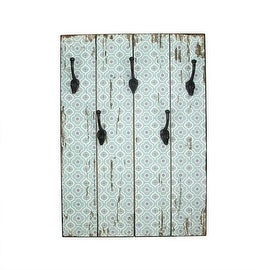 """27.5"""" New Romance Distressed Finish Blue and White Decorative Wall Mounted Coat Rack with Hooks"""