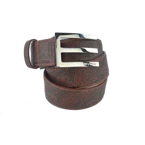 Etro Brown Abstract Print Leather Square Logo E Buckled Belt