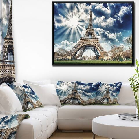 Designart 'Magnificent Paris Eiffel TowerView' Skyline Photography Framed Canvas Art