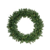 "36"" Pre-Lit Buffalo Fir Artificial Christmas Wreath - Warm White LED Lights - green"