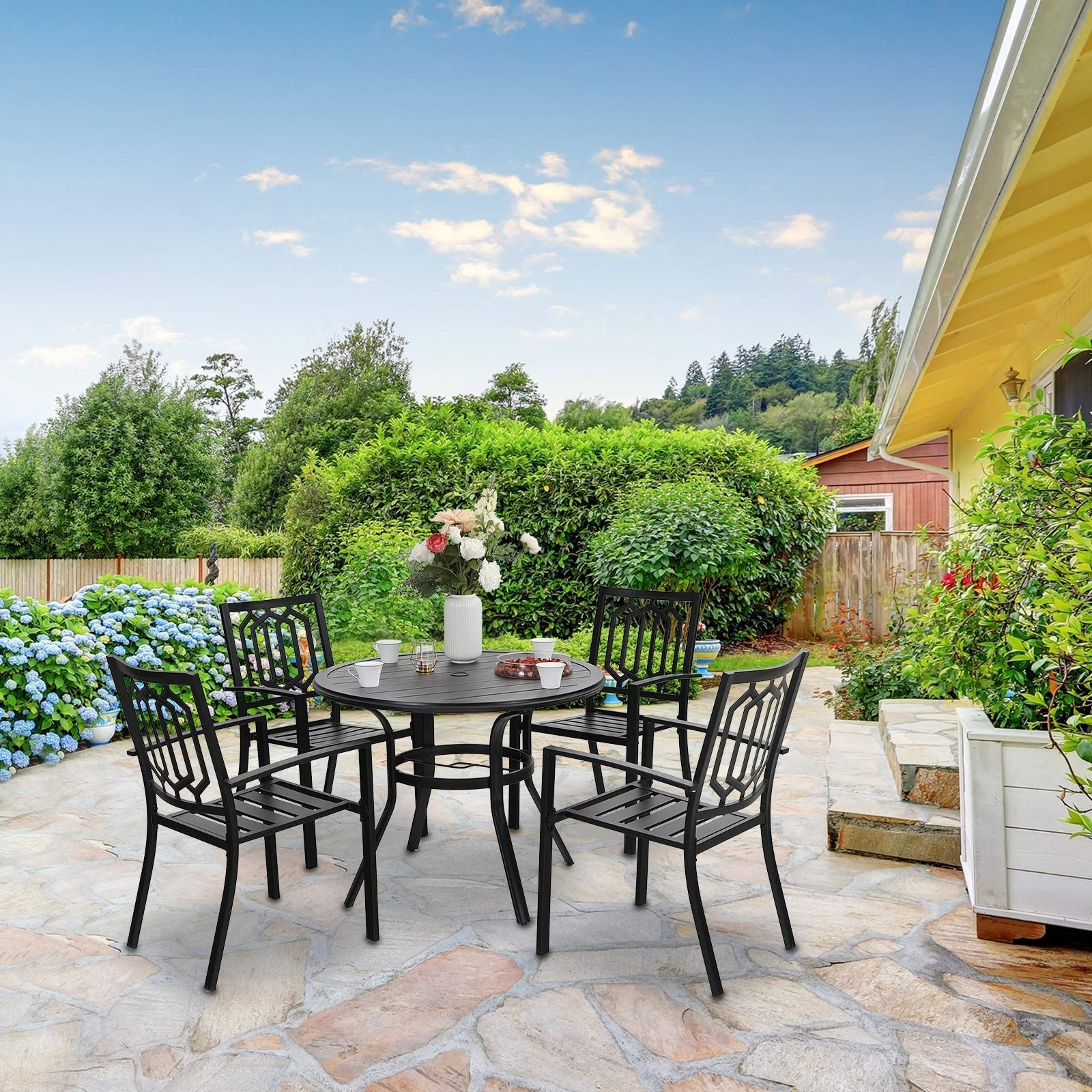 Sophia William 5 Piece Outdoor Patio Dining Set 4 Metal Stackable Dining Chairs And 1 Round 37 8 Diameter Umbrella Table Overstock 32862255