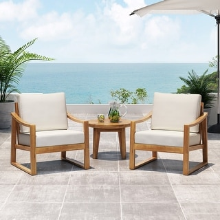 Samwell Outdoor Acacia Wood Club Chairs with Water Resistant Cushions (Set of 2) by Christopher Knight Home