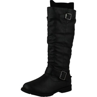 West Blvd Womens Osaka Riding Boots Knee High Sweater Knit Motorcycle Flat Shoes