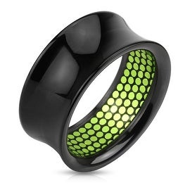 Green Dotted Pattern Inlaid Black Acrylic Saddle Fit Tunnel (Sold Individually)