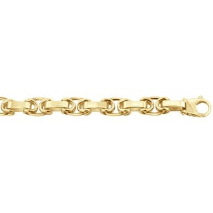 Men's 14K Gold 9 inch Fancy Link Chain Bracelet