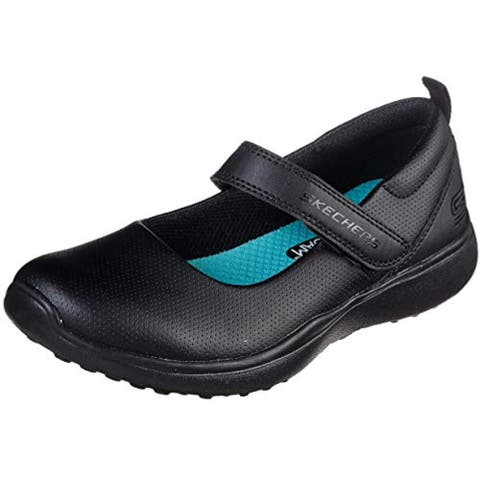 Skechers Kids Girls MICROSTRIDES-Miss Preppy Sneaker, Black/Black, 1 Little Kid