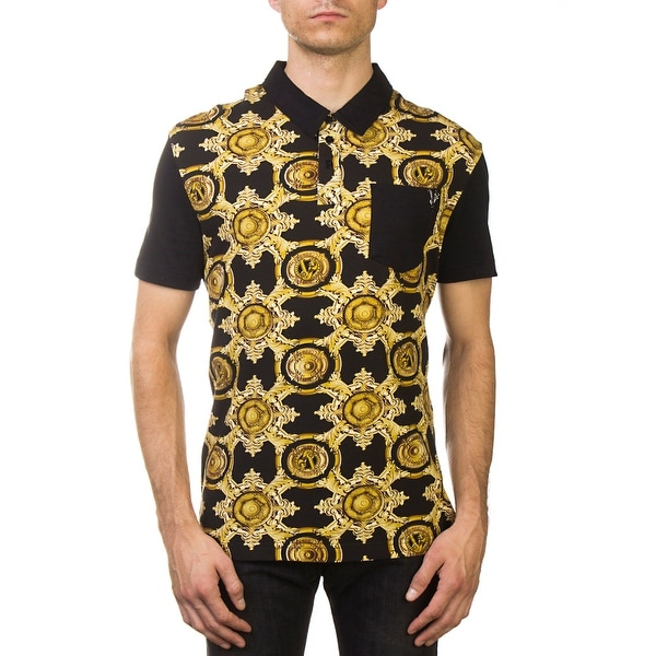 fd4a2073 Versace Jeans Couture Pima Cotton Baroque Polo Shirt Black Gold. Click to  Zoom