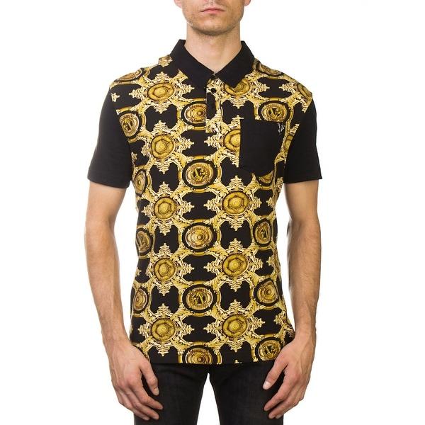 339d2e319509 Shop Versace Jeans Couture Pima Cotton Baroque Polo Shirt Black Gold ...