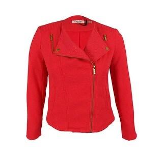 Calvin Klein Women's Long Sleeve Zip Front Textured Jacket - l