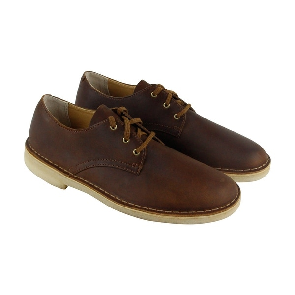 Clarks Desert Crosby Mens Brown Leather Casual Dress Lace Up Oxford Shoes