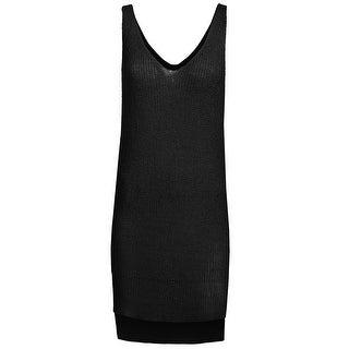 NE PEOPLE Womens Sleeveless Double V-neck Side Tunic Knit Top-NEWT356