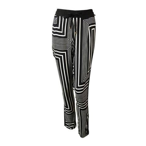 Calvin Klein Women's Geometric Print Drawstring Pants - Black/Neutral - XS