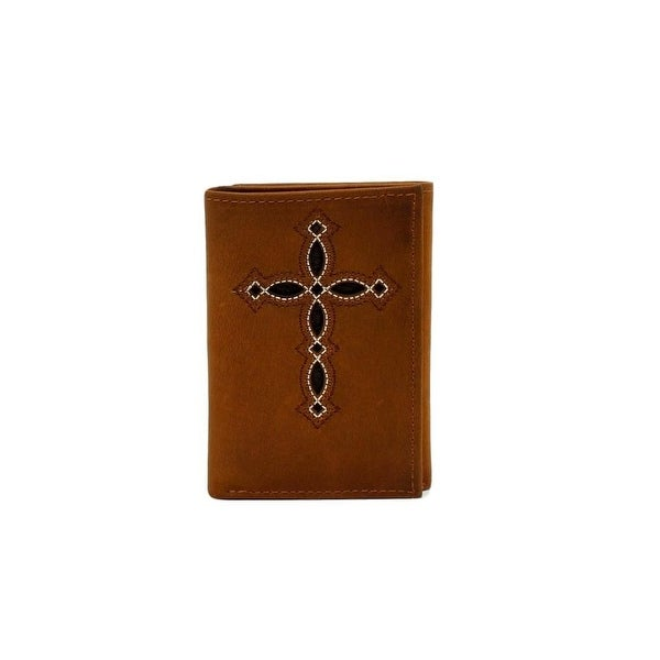 Ariat Western Wallet Mens Trifold Cross Stained Medium Brown