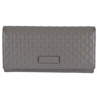 3190113f30f Gucci Women s 449396 Loess Grey Leather Micro GG Continental Bifold Wallet  - 7.5