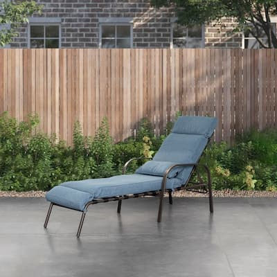"""Outdoor Recliner Adjustable Chaise Lounge Chair with Cushion & Pillow - 79.53"""" L x 24.41"""" W x 20.08"""" H"""