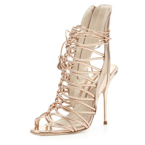 Sophia Webster Lacey Metallic Strappy Sandals Size 37