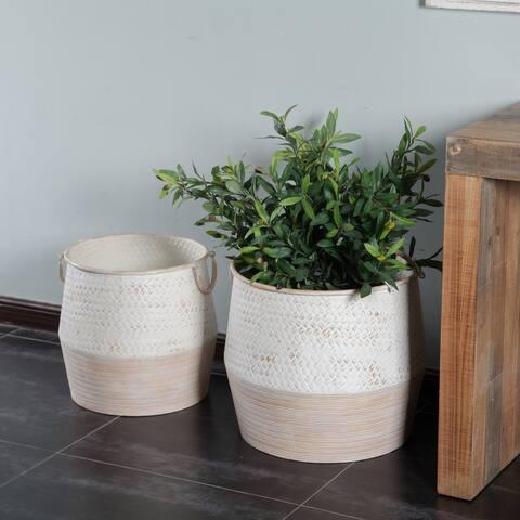 2pc Shabby-Chic Two-tone Metal Flower Vase