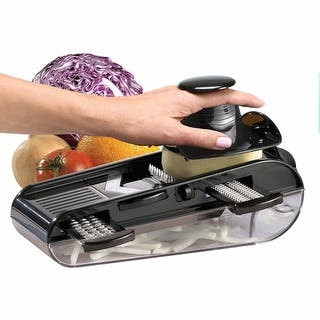 4- Blades Easy Mandoline Slicer With Container, Black|https://ak1.ostkcdn.com/images/products/is/images/direct/5cd3bab62ee30d918551d8871e940db88e768c7c/4--Blades-Easy-Mandoline-Slicer-With-Container%2C-Black.jpg?impolicy=medium