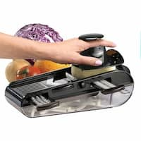 4- Blades Easy Mandoline Slicer With Container, Black - 6 in. x 12 in. x 4 in.