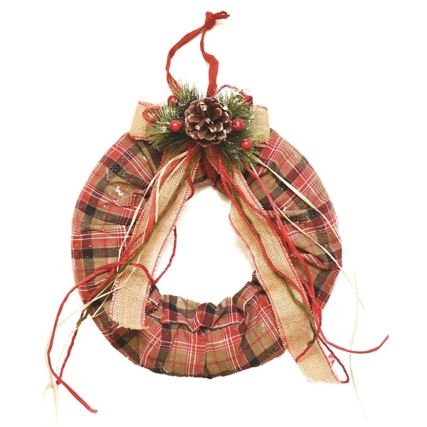 "13"" Decorative Green, Red and White Plaid Christmas Wreath with Burlap Bow and Pine Accents - Unlit"