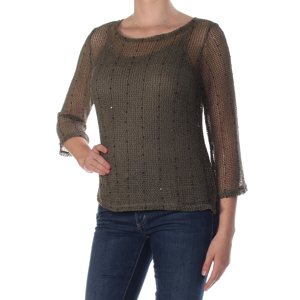 47926100 Shop INC Womens Green Sequined Sequined Scoop N Long Sleeve Scoop Neck  Sweater Size: M - Free Shipping On Orders Over $45 - Overstock - 27766284
