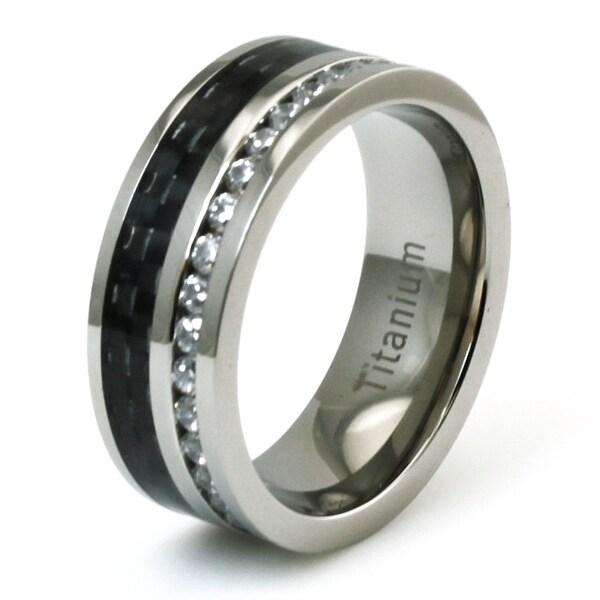 Titanium CZ Eternity and Black Carbon Fiber Inlay Ring