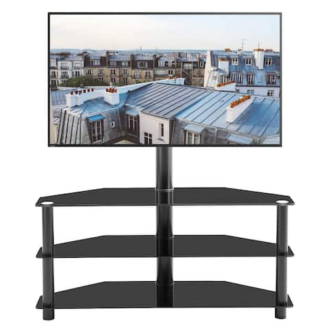 Swivel Floor TV Stand with Mount, Entertainment Center Height and Angle Adjustable with 3 Tier Sturdy Tempered Glass Base Black