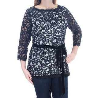 Womens Black 3/4 Sleeve Jewel Neck Top Size OX
