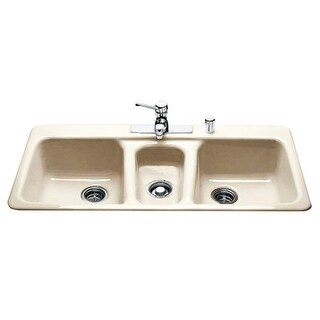 """Miseno MCI97-4TM 43"""" 4 Hole Cast Iron Triple Basin Kitchen Sink for Drop In Installations with 40/20/40 Split and Sound"""