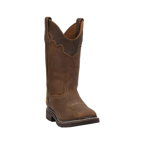"Dan Post Work Boots Womens 12"" Shaft Parkston Steel Toe Brown"