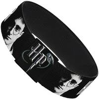 "Harry Potter Face Black Grays White Elastic Bracelet   1.0"" Wide"